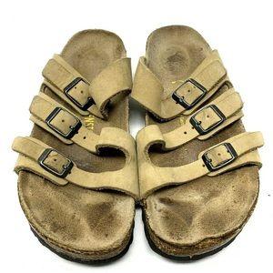 Birkenstock Tan 3 Strap Footbed Sandal 1740